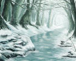 Frozen Forest Stream by sgl17