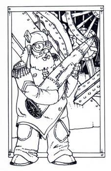 A dwarf engineer in a steam punk world