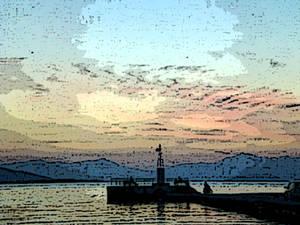 paint of Aigina Lighthouse