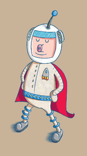 Super Spaceman Pigsworth - Test Illustration