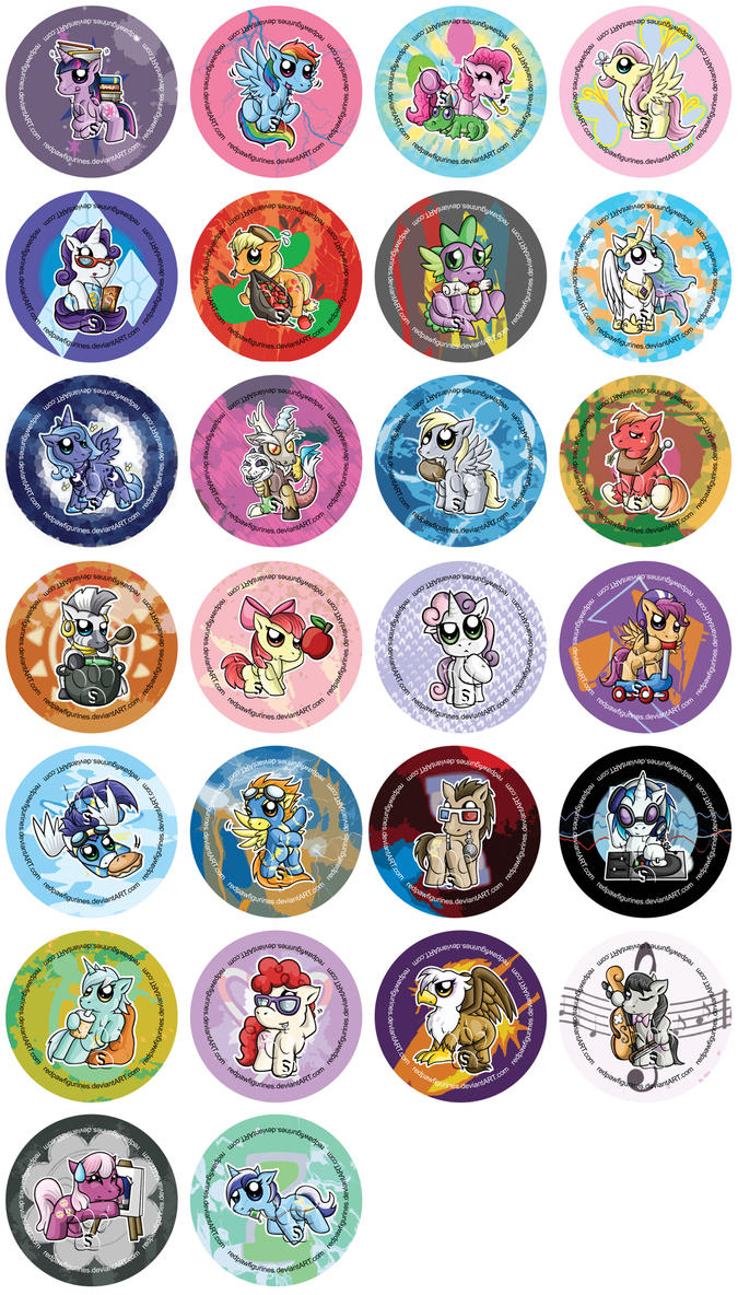 My Little Pony Chibi Badges by RedPawDesigns