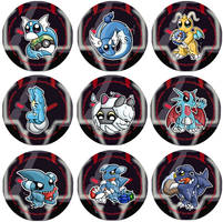 Dragon Pokemon Badge Set by RedPawDesigns