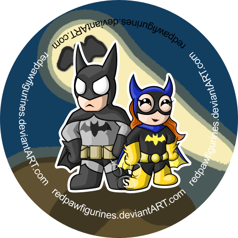 Batman and Batgirl Chibi Badge by RedPawDesigns