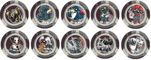 Dark Type Pokemon Chibi Badges by RedPawDesigns