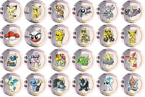 Electric Type Pokemon Badges by RedPawDesigns