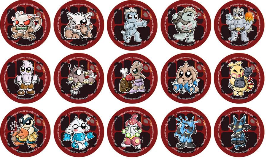 Fighting Type Pokemon Chibi Badges by RedPawDesigns