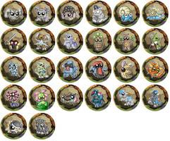 Rock Type Pokemon Chibi Badges by RedPawDesigns