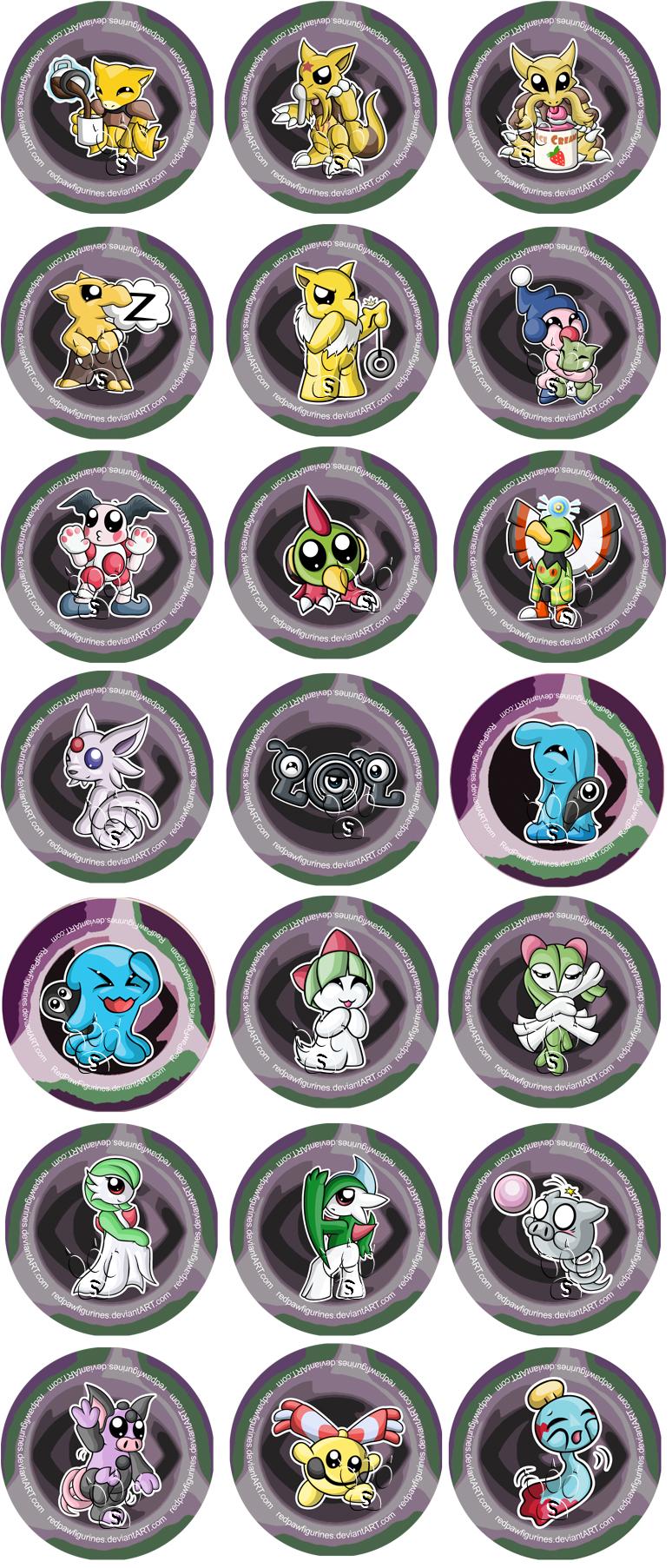 psychic type pokemon chibi badges by redpawdesigns on