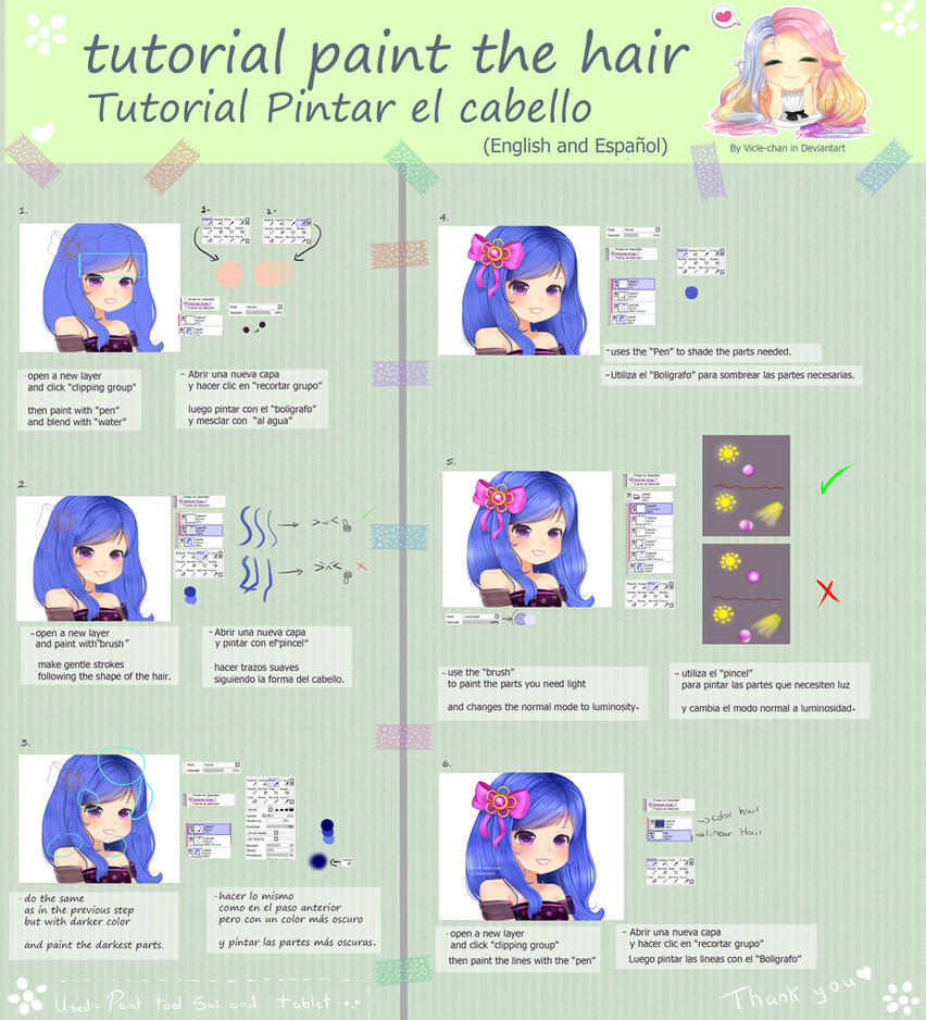 .:Tutorial Paint the Hair:. by Vicle-chan