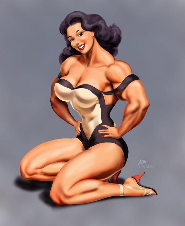 Female Muscle Pin-up by DavidCMatthews