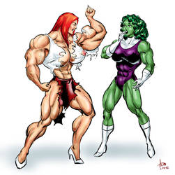 Muscular Mary Jane and friend by DavidCMatthews