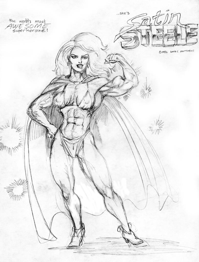 My 1st drawing of Satin Steele by DavidCMatthews