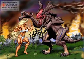 Giantess Tetsuko vs Raijin - final - lo by DavidCMatthews