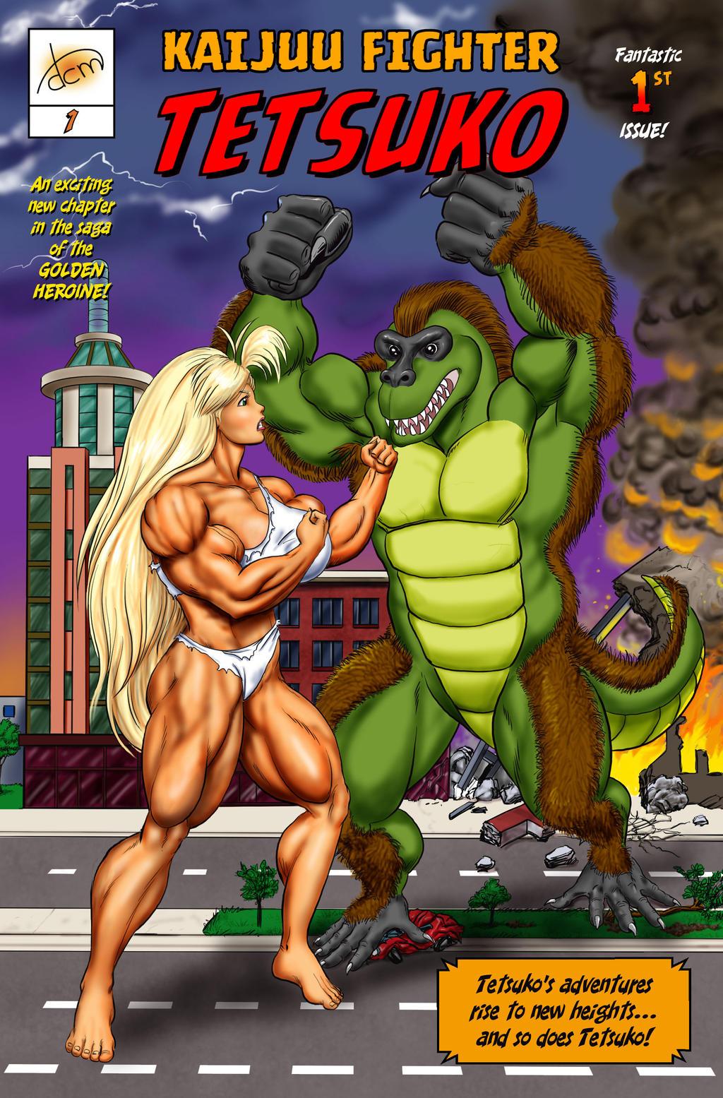 Kaijuu Fighter Tetsuko issue 1 cover by DavidCMatthews