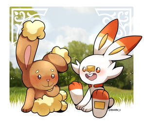 Buneary and Scorbunny by Desinho