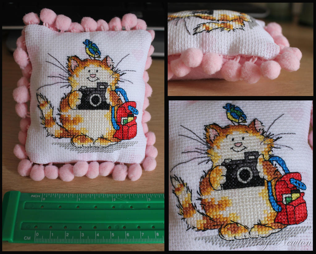 Photographer Cat Mini-Pillow by KezzaLN