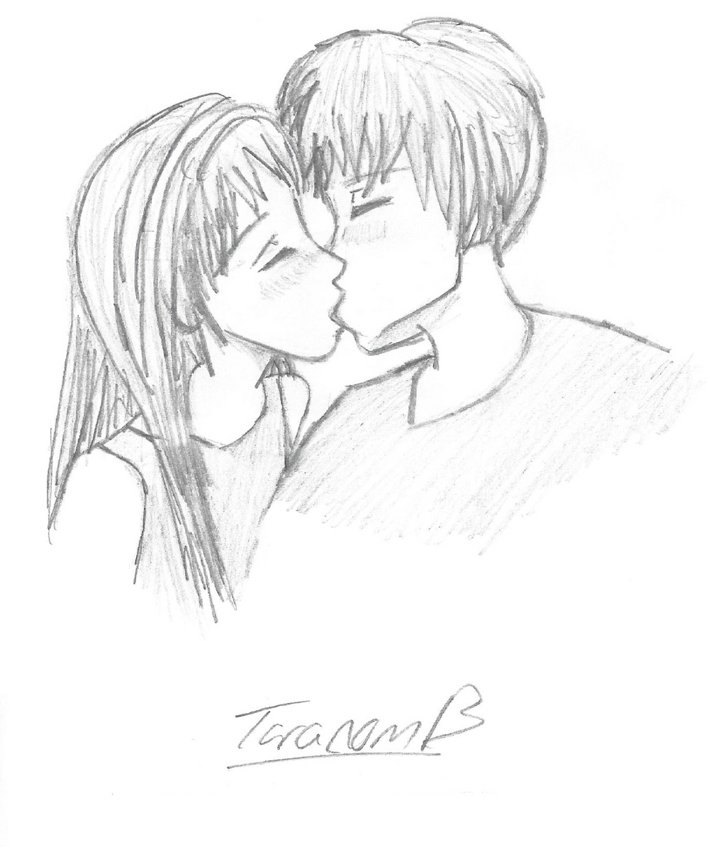 The Gallery For --u0026gt; Anime Couples Kissing Drawings In Pencil