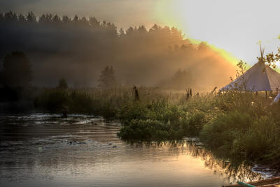 Sunrise at the river by Elixiasi