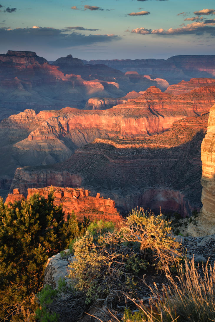 Sunset at Yavapai Point Portrait by mikewheels