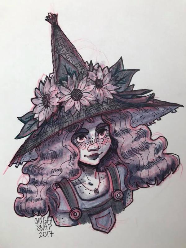 Inktober Sunflower Witch by Bonequisha