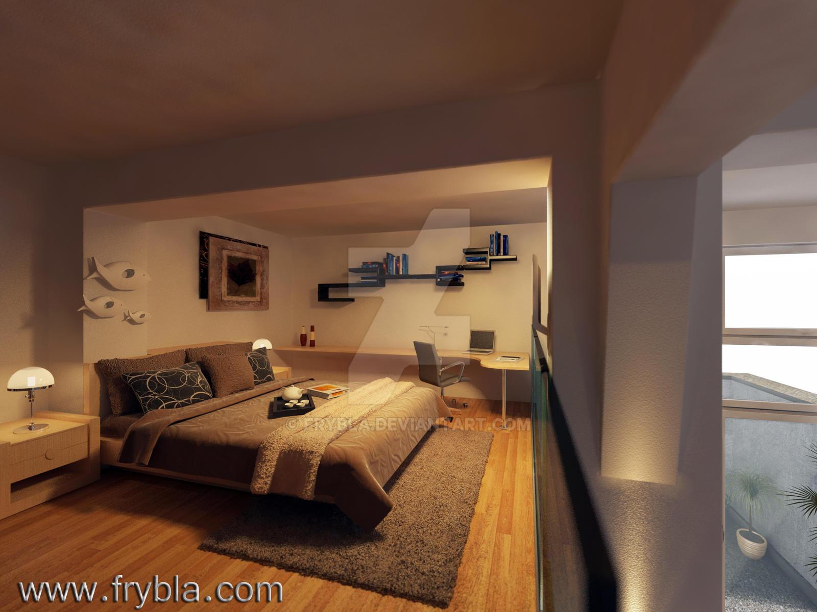 bedroom 3d rendering interior design by frybla
