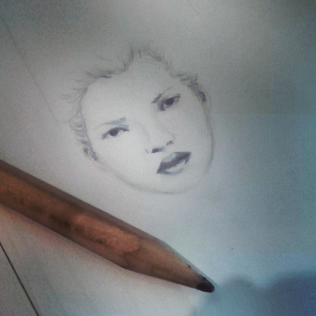 Kate Moss Sketch - Pencil Drawing by frybla