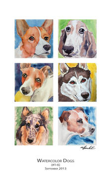 Watercolor Dogs (1-6)