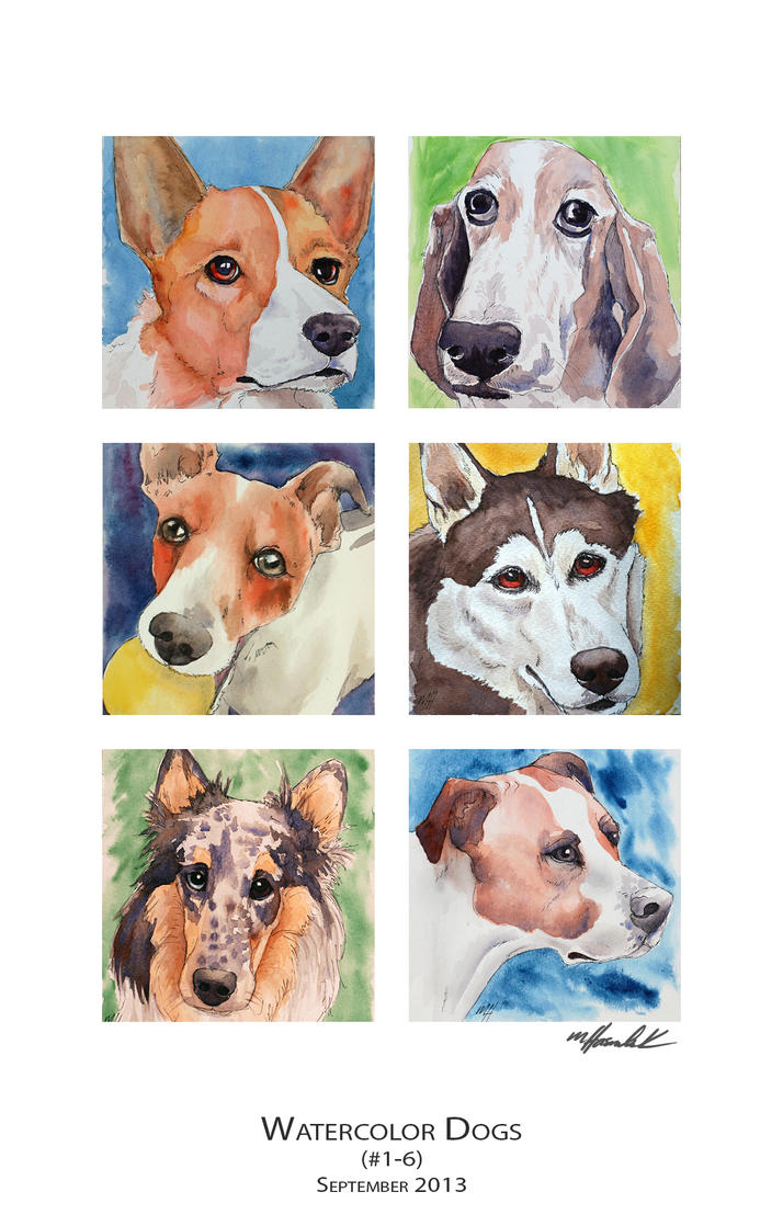 Watercolor Dogs (1-6) by mJackson