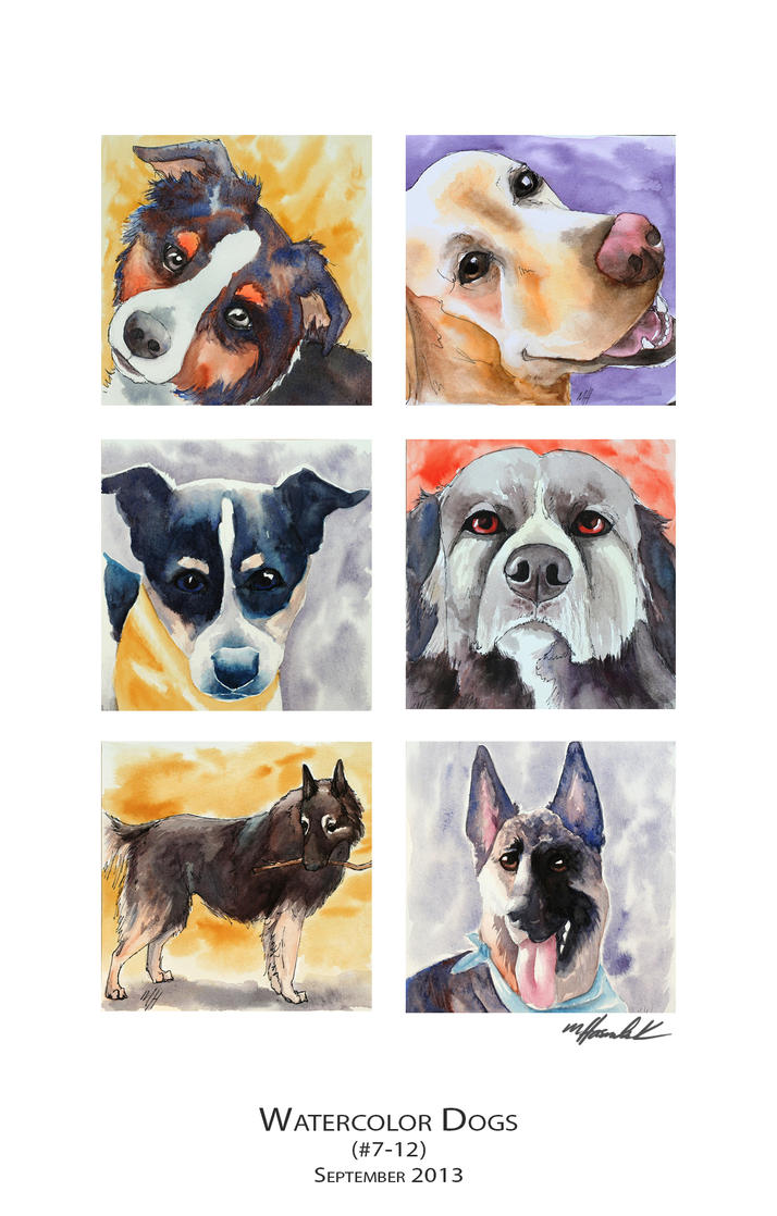 Watercolor Dogs (7-12) by mJackson