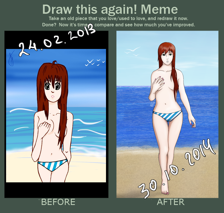 Before and after Girl on beach by AkkiKama