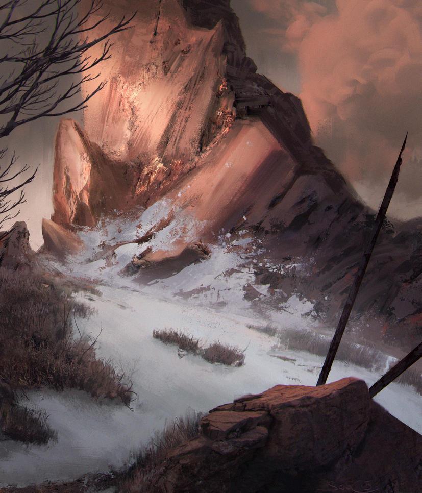 Mountain basic land - mtg fanart by stefanoscuccimarra