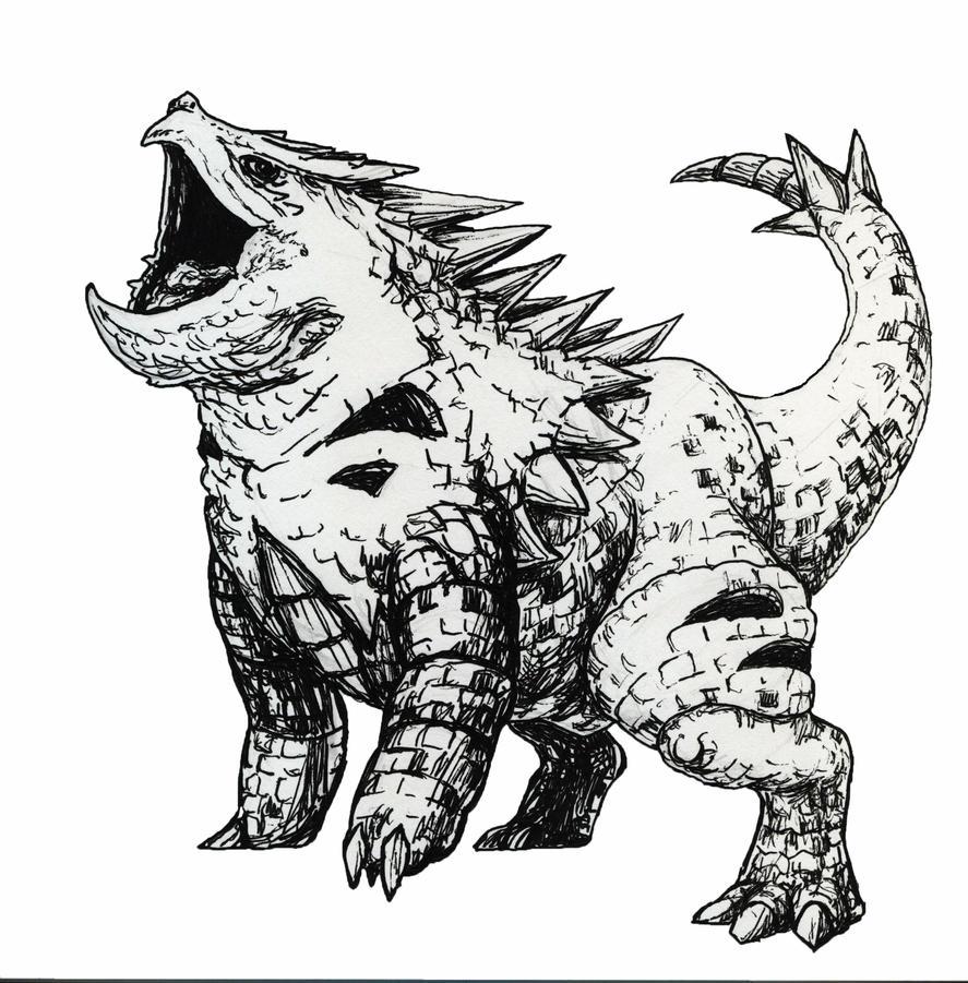 Realistic Tyranitar Sketch by jbrenthill