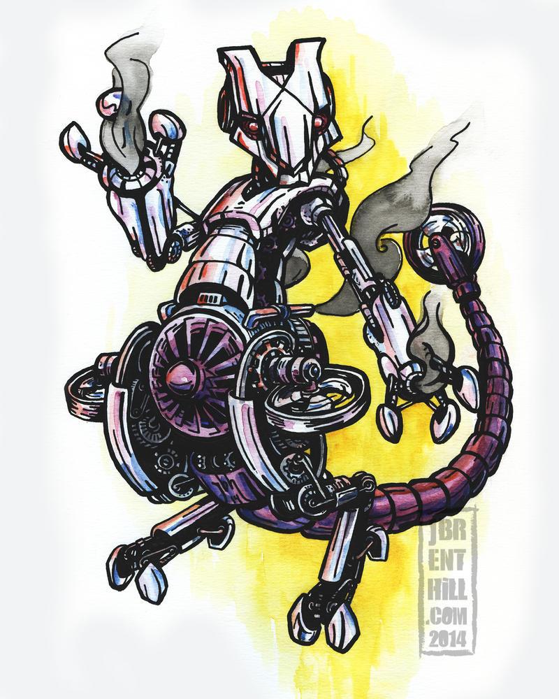 Steampunk Pokemon: Mewtwo by jbrenthill