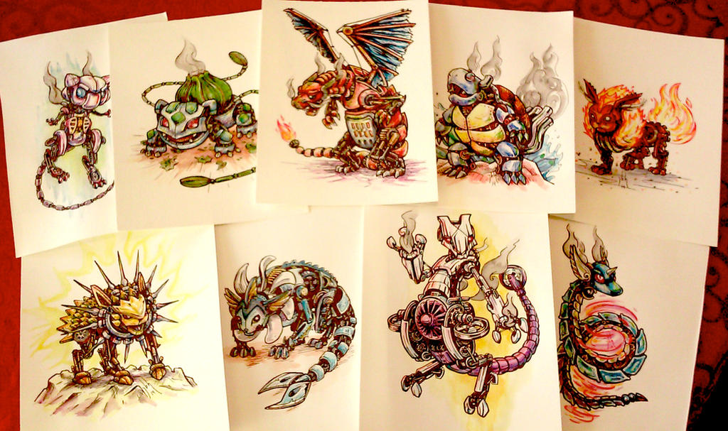 Steampunk pokemon watercolor paintings for sale by for Watercolor art prints for sale
