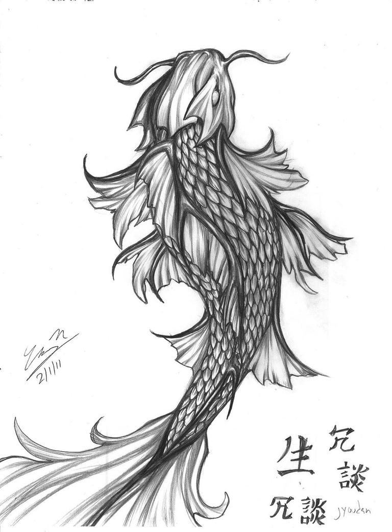 Koi fish tatto complete by kofeejuzzandskotch on deviantart for Koi fish sketch