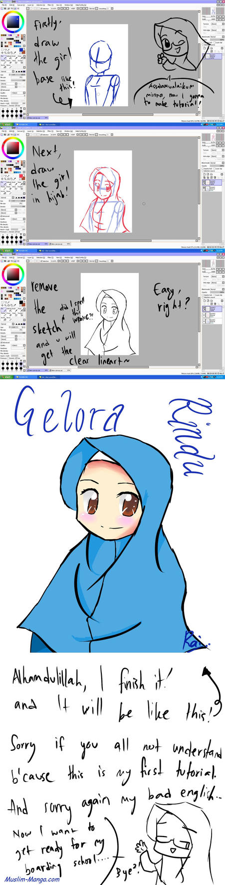 How To Draw The Girl in Hijab using SAI by Hikari-Hany
