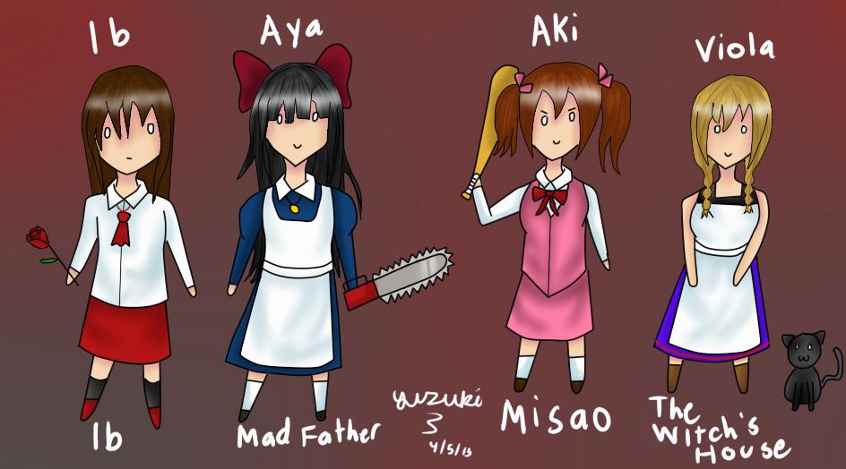 RPG Horror Games-Chibi Girls 3 by Monsethehedgehog on