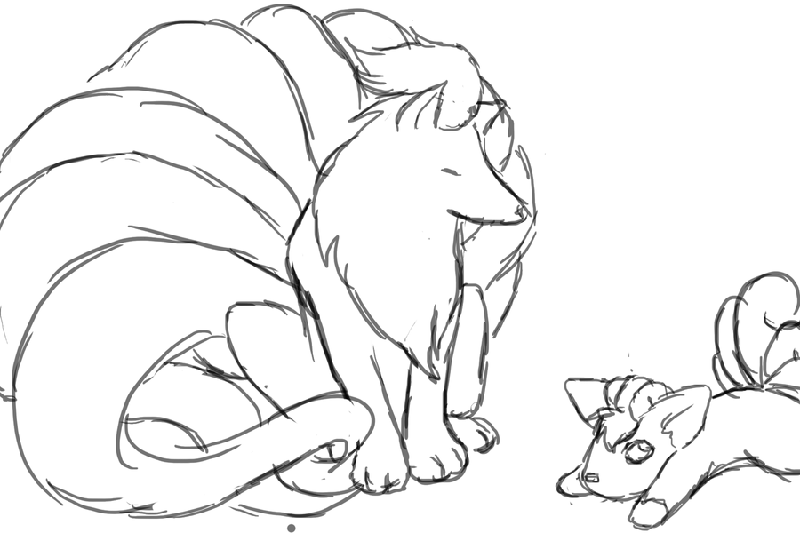 Vulpix and Niales by TheDyingVisionary