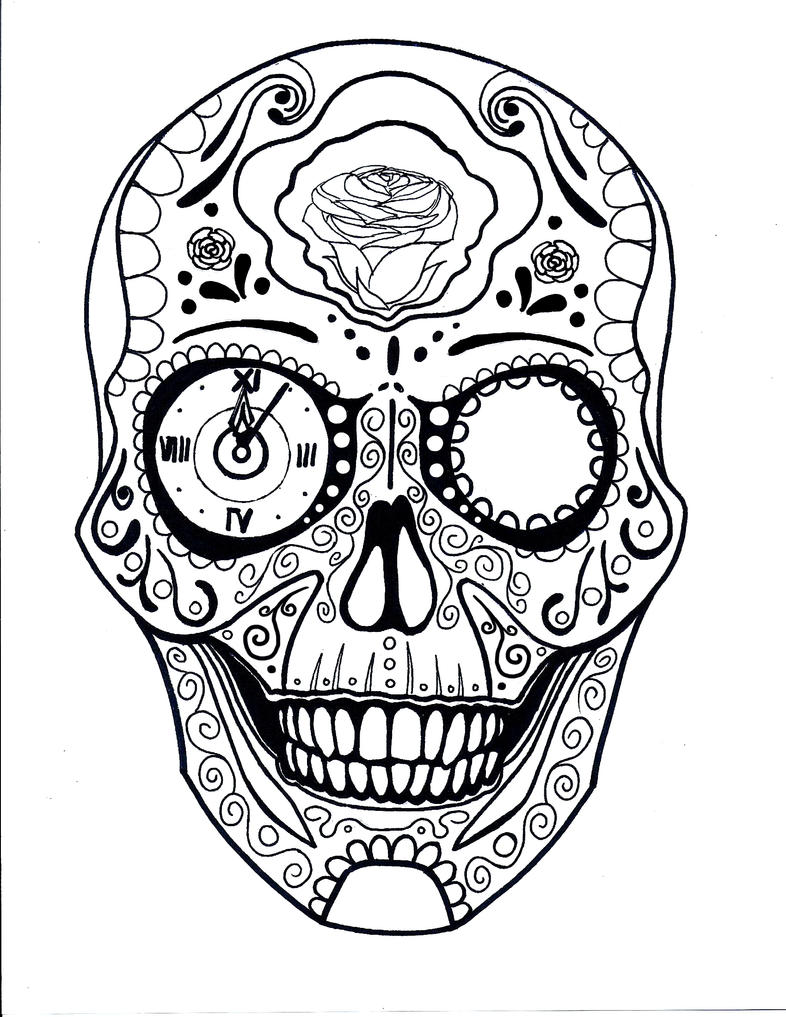 This is a photo of Lively Black And White Sugar Skull Drawing