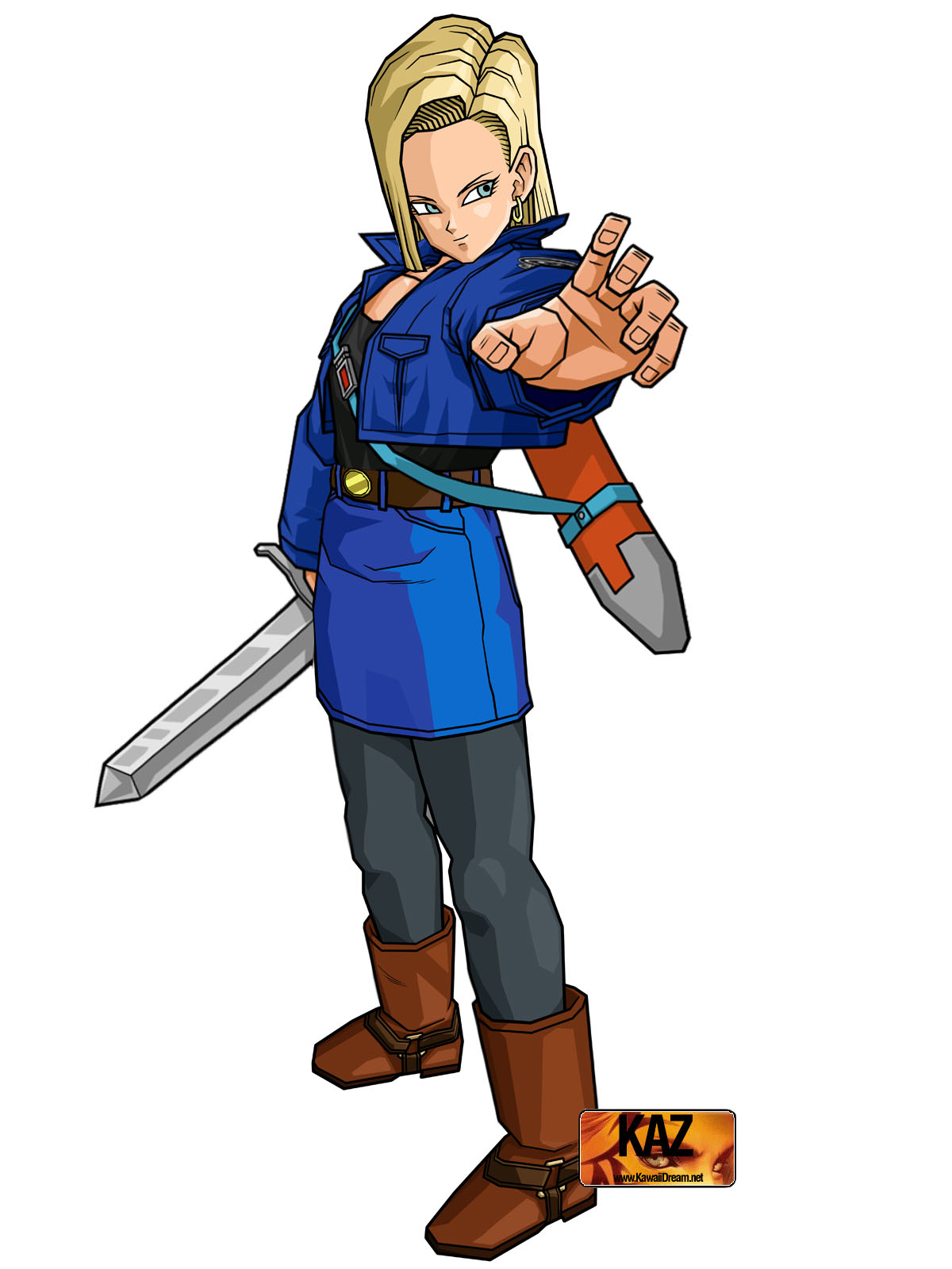 Android 18 with Trunks Jacket and Sword by moonrakerone on ...