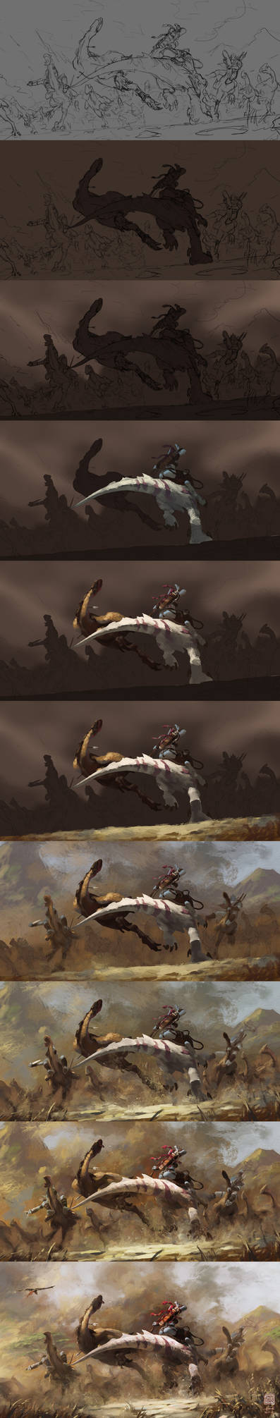 The painting process of Hunting