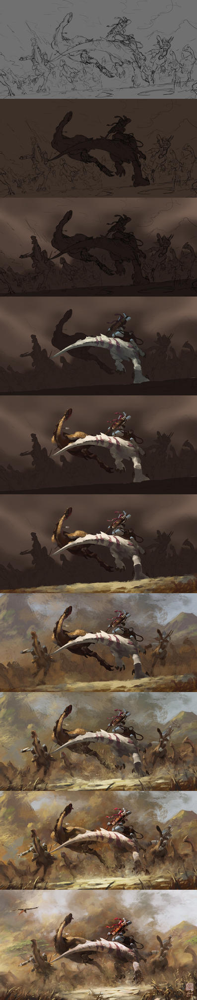 The painting process of Hunting by 6kart