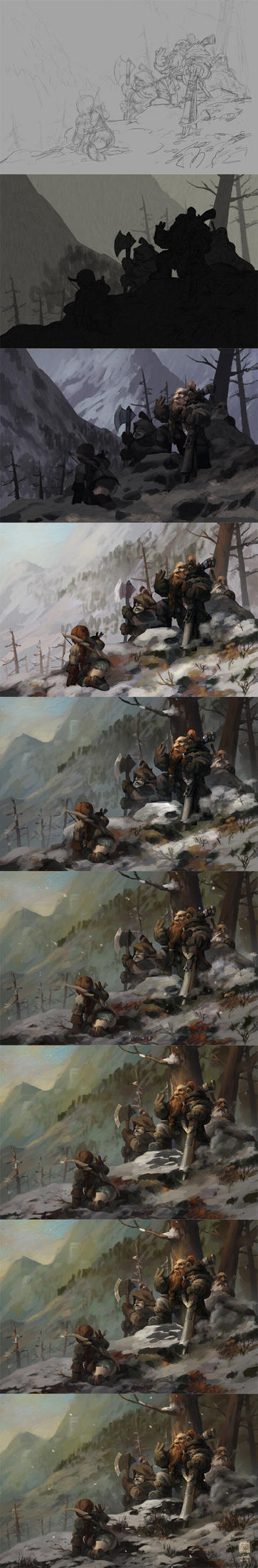 The painting process of Game of the Hunters by 6kart