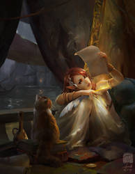 The Elf Poet and Cat by 6kart