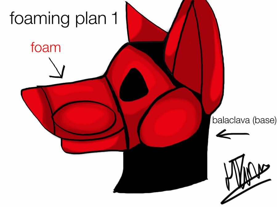 fursuit head foaming plan by IndiTheWolfy