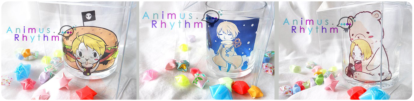 Hetalia Mini cups USA Russia Canada by Animus-Rhythm