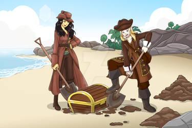 Mary and Robin Finding Treasure