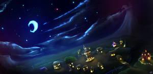 Ponyville at Night by ThePleonasticPotato