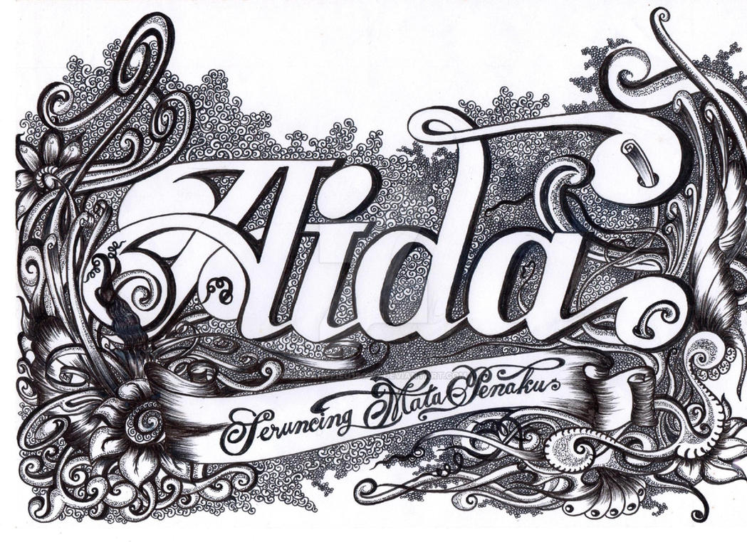 VIGNETTE Hand Lettering 001 AIDA by myhandfieq180577