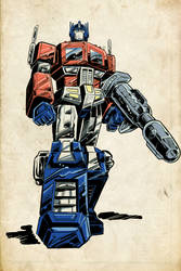 Old-school Optimus Prime by Simon-Williams-Art